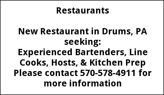 Experienced Bartenders, line cooks, hosts, & kitchen prep