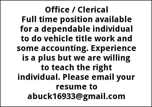 Office Clerical Alexander Family Buick Gmc