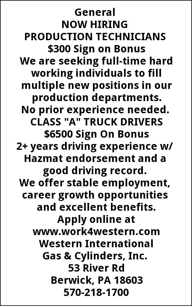 Production Technicians  Class A Truck Drivers