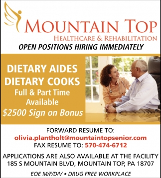 Dietary Aides, Dietary Cooks