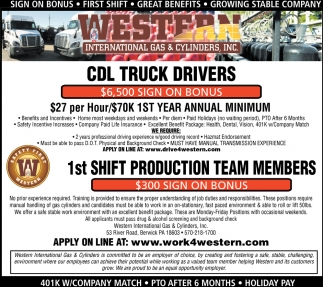 CDL TRUCK DRIVERS $6,500 SIGN ON BONUS AND PRODUCTION TEAM MEMBERS