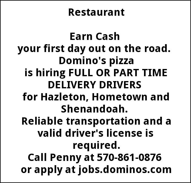 Delivery Drivers Domino S Pizza