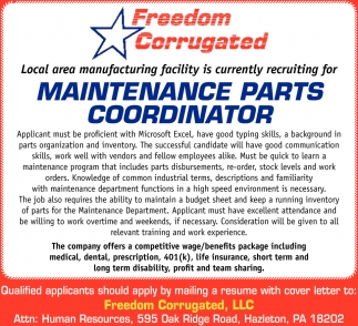 Maintenance Parts Coordinator
