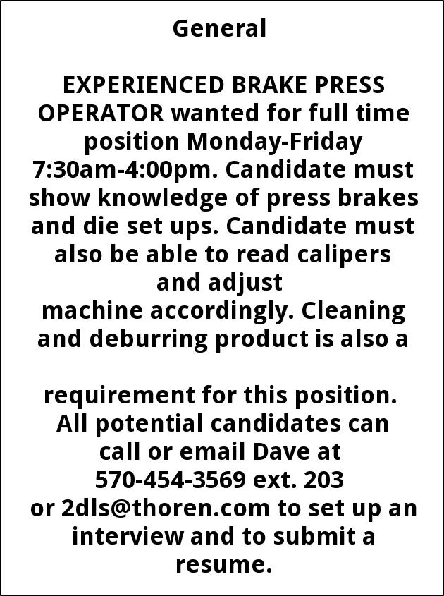 Experienced Brake Press Operator, Thoren Caging Systems Inc