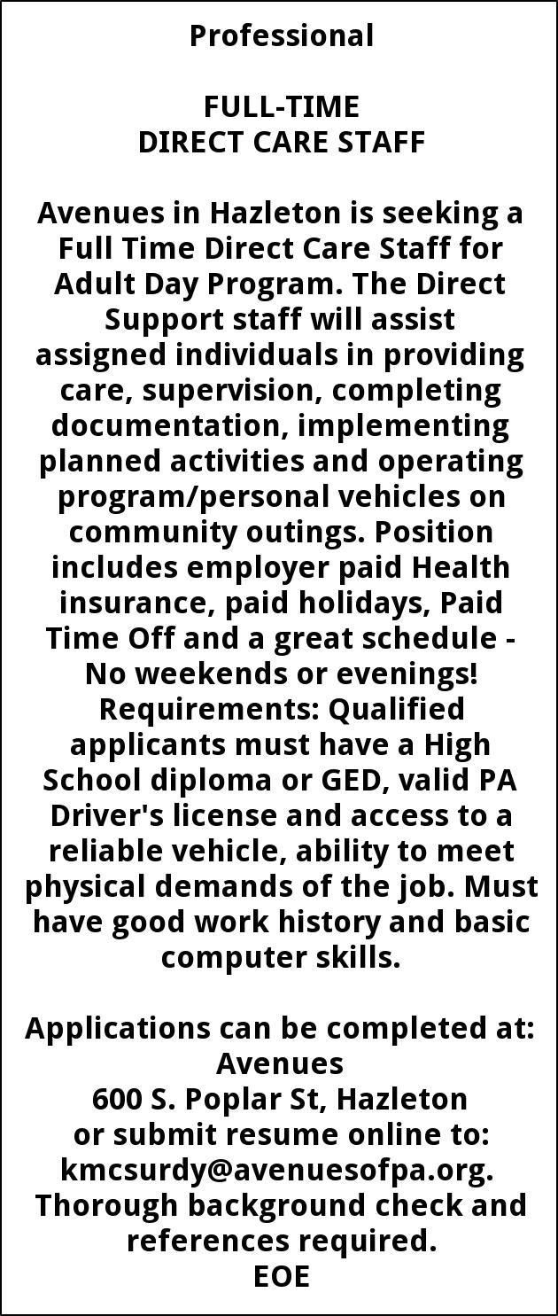 Full Time Direct Care Staff
