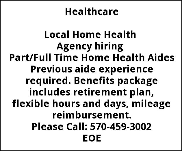 Part/Full Time Home Health Aides