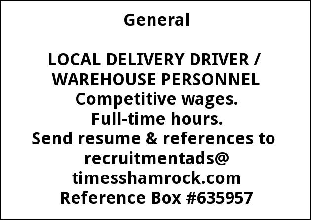 Local Delivery Driver/ Warehouse Personnel