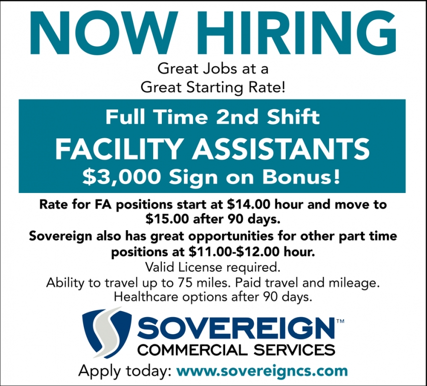 Facility Assistant $3,000 Sing On Bonus!
