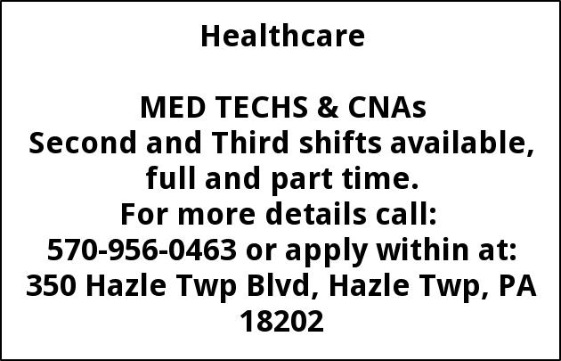 Med Techs and CNAs