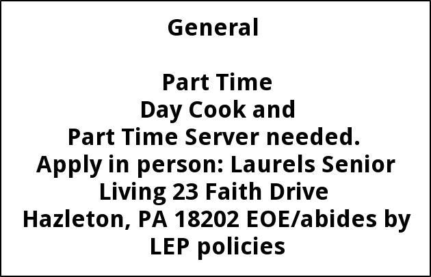 Part Time Day Cook And Part Time Server