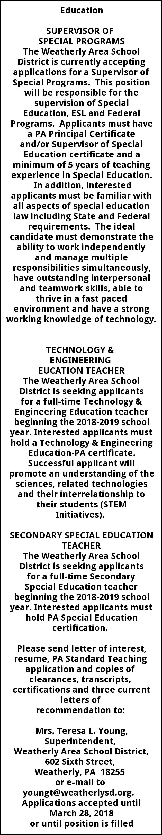 Supervisor Of Special Programs Technology Engineering Education