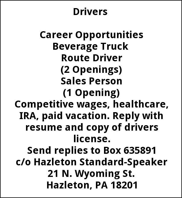 jobs for t verrastro beer dist in hazleton pa drivers career opportunities beverage truck