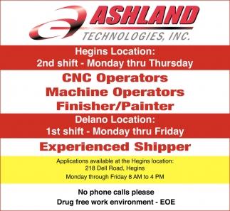 Cnc Operators Machine Operators Finisher Painter Ashland