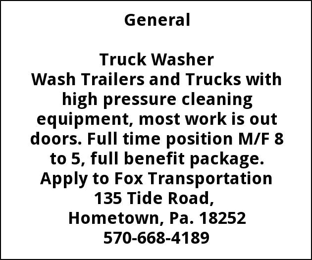 Truck Washer Fox Transportation Tamaqua Pa