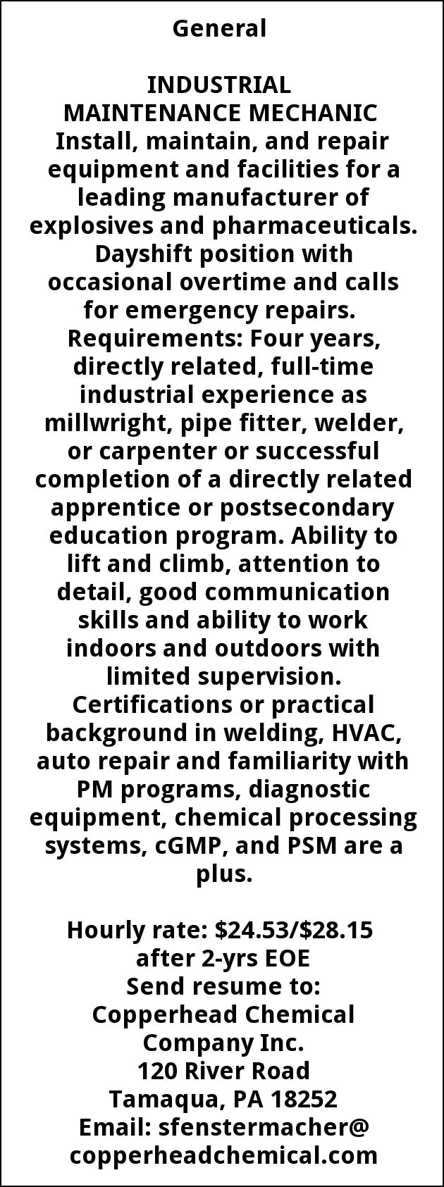 Industrial Maintenance Mechanic Copperhead Chemical