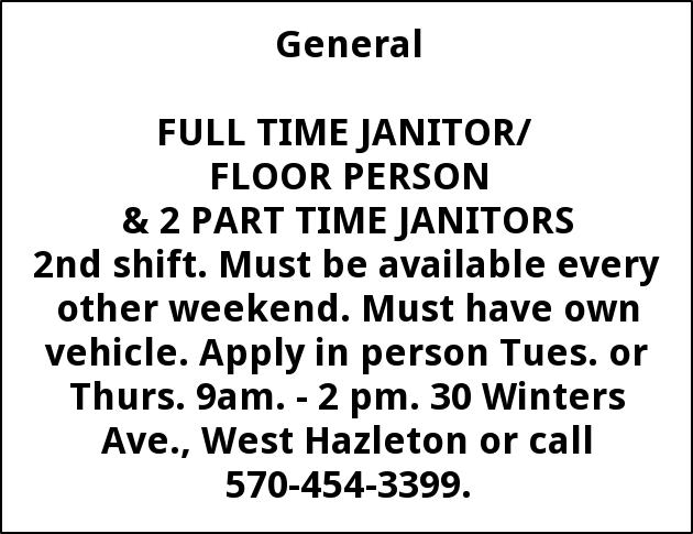 Jobs For Executive Cleaning Supply Co In Hazleton PA