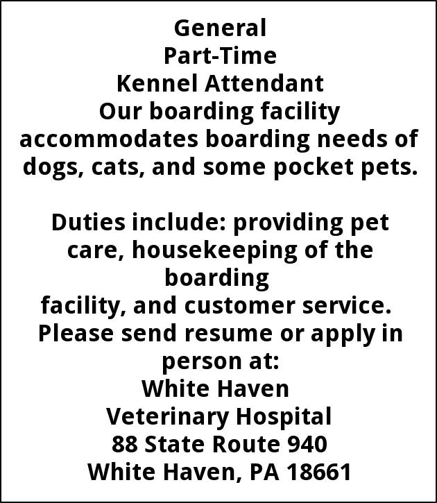 Part-Time Kennel Attendant