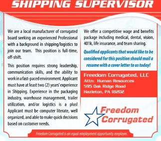 Shipping Supervisor, Freedom Corrugated, Llc, Hazleton, PA
