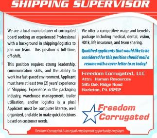 Shipping Supervisor, Freedom Corrugated, Llc, Hazleton, PA